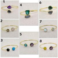 Designer Natural Geode Druzy & Gemstone 24k Gold Plated Bangle Bracelet Jewelry