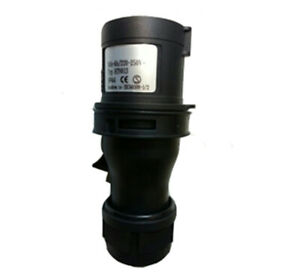 16A 230V 3pin IP44 Rated Black Plug