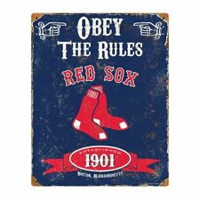 BOSTON RED SOX Obey The Rules Metal Tin Pub Sign Man Cave Wall Decor