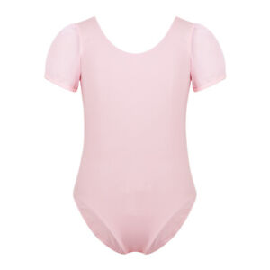 Kids Girls Short Sleeves Ballet Dance Jumpsuits Cutout Back Gymnastics Leotard