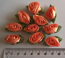 RIBBON ROSES x 10  Satin Large - Craft Wedding Baby Bunting Sew - Dark Peach
