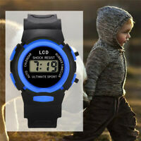 UK Kids Boy Girl Digital Watches Sport Waterproof Teenagers Plastic Wristwatch
