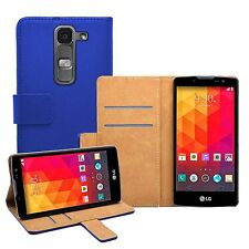 Wallet BLUE Leather Flip Case Cover Pouch Saver For LG Magna H502F, H500F