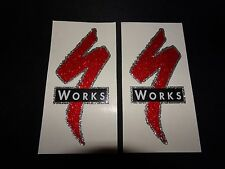 "2 NOS AUTHENTIC SPECIALIZED S WORKS ""GLITTER EFFECT"" STICKERS #4 / DECALS"