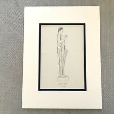 1900 Antique Print Historical Costume Ancient Greek Muse Nymph Goddess Statue