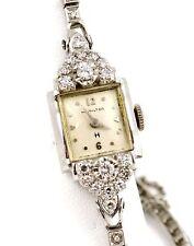 1930s Art Deco 14k WHITE GOLD Hamilton Round Cut 0.75ct Diamond 14mm Watch 16g