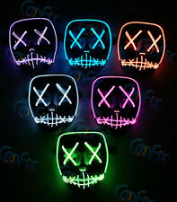 Hot gift LED Guy Fawkes Vendetta  Mask EL Rave EDM Christmas Party Cosplay Movie