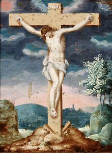 17th CENTURY FINE ITALIAN OLD MASTER OIL COPPER - THE CRUCIFIXON OF CHRIST