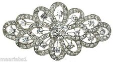 Silver Diamante Rhinestone Flower Brooch Shoe Cake Bridal Pin Jewellery- UK