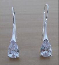 925 Sterling Silver Teardrop Crystal Drop Hoop Earrings