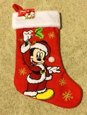 Disney Mickey Mouse Holiday Christmas Red Stocking New