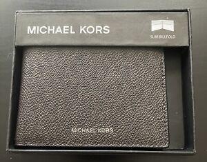 Michael Kors Men's Wallet Dark Brown/ Black Jet Set Passcase Signature Bifold