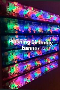 HAPPY BIRTHDAY BANNER AGE 60,65,70,75,80,90,100 pink or blue party decorations