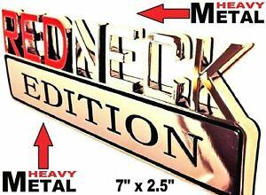 METAL Redneck Edition Emblem HIGHEST QUALITY ON EBAY GMC Tailgate Door Lid Decal