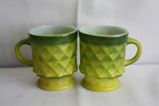 Set of 2 vintage Anchor Hocking Fire King Kimberly Diamond Green coffee mugs