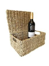 Seagrass Natural Gift Hamper Basket Storage Box with Lid - MEDIUM (28x20x12cm)