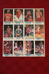 1990-91 Panini sticker sheet of 12 with 2 Jordans, 2 Birds, Barkley, Ewing