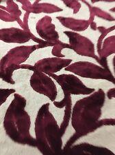 Waverly Ruby Cut Velvet Stem Leaf Upholstery Fabric Bty 54 Wide bark cloth