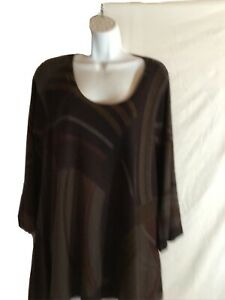Nally & Millie Knit Tunic Top  Browns Xl Long Sleeve Damaged