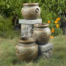 Outdoor Multi Tiered Water Pot Fountain Free Standing Pedestal Garden Sculpture