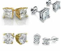 Women 925 Sterling Silver Plated Queen CZ Crown Earrings 6mm Stud Earrings
