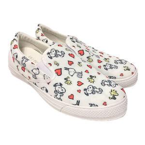 Peanuts Snoopy & Woodstock w/Hearts Sneakers Slip On Shoes Sz 10 Mens, 11 Womens