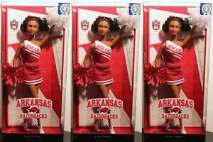 3-SETARKANSAS RAZORBACKS BARBIE University Black Cheerleader Football SEC NEW