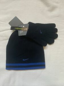 NIKE UNISEX YOUTH & ADULTS  Cuff Beanie/Gloves Set Reversible Stripes Winter