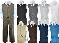 4pc Baby Boy & Toddler Wedding Easter Formal Party Color Vest Suit set Sm-20