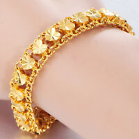 "24k Yellow Gold Elegant 7-1/2"" Linked Hearts Chain Womens Bracelet w GiftPk D741"