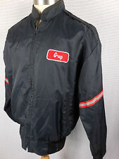 Vintage Mens L Satin Jacket Greg Work Hot Rat Rod Cafe Racer Moto Retro Patch