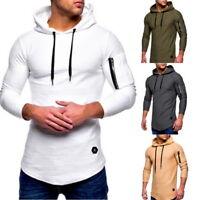 Male Mens O-Neck Long Sleeve T-Shirts Casual Arm Zipper Slim Hoodies Tops CHA