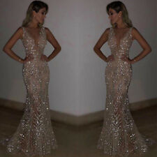 Womens Bodycon Sequin Maxi Long Dress Ladies Plunge V Neck Evening Ball Gown UK