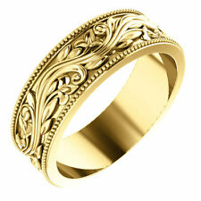 SIZE 7 - 6.0mm 14k Yellow Gold Sculptural-Inspired Milgrain Bridal Wedding Band