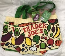 2 NEW Trader Joe's Reusable 100% Cotton Eco Tote Bag (Grocery Bags) ♻️