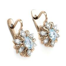 14k Rose & White Gold Diamond & Aquamarine Russian Vintage Style Earrings