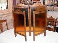 Joli petit paravent 4 panneaux en bois et verre couleurs ambre bois hauteur 62 c