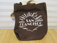 Rare Brown 100% Cotton 4 Play Brand Unique Retro San Francisco Canvas Tote Bag