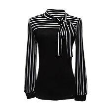 Damenbluse Stehkragen Blus T-shirt Hemd Streifen  TOP Gr. M  Schwarz DE
