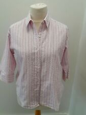 Grenouille - Pink and Lilac Stripe Sear Sucker 3/4 Sleeve Blouse - UK Size Large