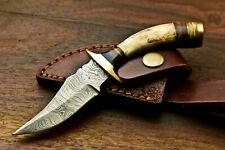 Custom HandMade Damascus Steel Blade Hunting Miniature Knife | Stag Antler