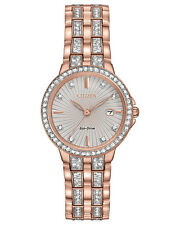 Citizen Eco Drive EW2348-56A Silhouette Rose Gold Tone Swarovski Crystal Watch