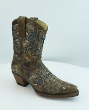 Corral Size 5.5 M Inlay Womens Leather Boots Brown Style R2466 Short Top Shaft