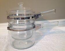 Vintage PYREX FLAMEWARE; Near-MINT 1.5-QT Lidded Double-Boiler w Locking-Band
