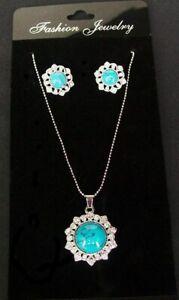 Ladies Silver Crystal Turquoise Flower Necklace Earrings Jewellery Set Women UK