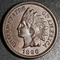 1890 INDIAN HEAD CENT -With LIBERTY & Near 4 DIAMONDS - AU UNC