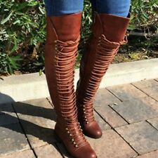 Women Over-the-Knee Boots Lace Up Block Heels Shoes Woman Plus Size Casual Shoe