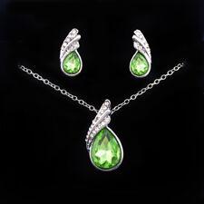 Women's 925 Silver Filled Pendant Necklace Earring Gemstone Wedding Jewelry Set