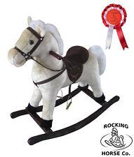 Soft Plush WHITE ROCKING HORSE with Sounds Saddle Bandana & Rosette Age 1+