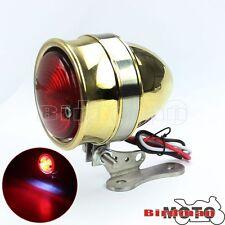 LED Brass Stop Tail Light Projector For Cafe Racer Street Fighter Bobber Chopper